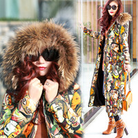 Wholesale Leopard Coats For Women - Luxury Women Down Winter Coat 2016 Long Jacket For Women's Pinted Color Outwear Clothing Thick Keep Warm Winter Clothes Hot Sale