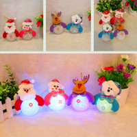 Barato Snowman Santa Tree Decorations-Luminous Santa Claus Snowman Bear Elk 4 estilos Exclusivo Super Cute Decoração de Natal Decorações de árvore Light Toy Wholesale 0708050