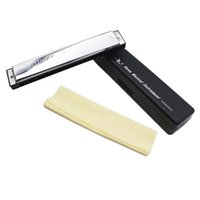 Wholesale Swan Mouth Harmonica - Wholesale-Hot Key of C 24 Double Holes Mouth Organ Swan Tremolo Harmonica with 48 Reeds Free Reed Wind Instrument with Case Cleaning Cloth