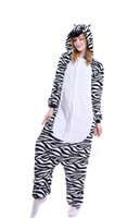 Wholesale Halloween Bear Costume Men - Zebra Onesie Adult For Women Men Black White Animal Bear Print Pajamas Plus Size for Teens Cosplay Costumes Holloween Pyjamas Pigiama