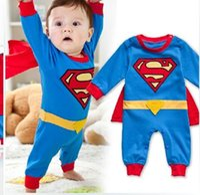 Wholesale Baby Superman Jumpsuit - Superman infant clothes baby boys Rompers toddler superhero long sleeve spring autumn jumpsuit Cloak Overalls E13003