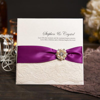 Wholesale Ribbon Wedding Invites - Wholesale-Personalized Wedding Invitations Evening Invites Handmade With Ribbon and Rhinestone Buckle - Lace Vintage & RSVP NK-605