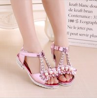 Wholesale Baby Shoes Girl Diamond - 2017 new big children girls sandals summer princess with a diamond high-heeled baby girl primary school children's shoes