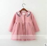 Wholesale Pink Animal Hood - Kids Winter coats Girls embroidery rabbits flowers single-breasted outwears Children splicing gauze pleated overcoats Kids clothes C2478