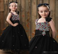 Wholesale Cheap Girls Tanks - Bow Black Flower Girls Dresses 2017 Elegant Organza Beads Crystals Tank Long Girls Christmas Little Kids Child Pageant Party Dress Cheap