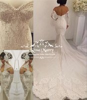 Wholesale Wedding Dresses Long Gloves - 2017 Full Lace Mermaid Backless Wedding Dresses Plus Size Trumpet Arabic Pearls Chapel Train Sexy Back Vestido De Novia with Long Gloves