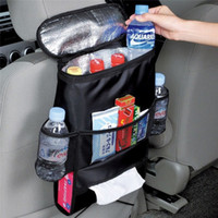 Wholesale chair organizer pockets - Car Auto Cooler Bag Seat Organizer Multi Cooling Pocket Arrangement Bag Back Seat Chair Styling Seat Cover Organiser Holder
