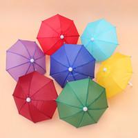 şemsiye sahne toptan satış-Çocuk Şemsiye Mini Oyuncaklar Prop Kullanın Süslemeleri Geniş Bumbershoot Kullanımı Şeker Renk Düz Shank Bükme Kolu 2 5sy H R