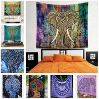 Wholesale Vintage Beach Towels Elephant Print Table Cloths Home Tapestry Fashion Rug Colored Blankets Hot Sale Carpets Retro