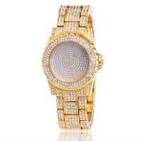 платиновые часы для женщин оптовых-Новый лучшее качество Женева платина часы женщин стали наручные часы свободного покроя платье часы Reloj дамы золотой подарок мода Роман