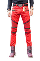 Wholesale Stylish Capris - Wholesale-New Brand Designer Differ denim jeans Men's Classic Stylish Red Biker Skinny Leg Jeans Denim Pants Trousers Jeans Men
