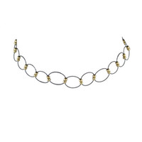 Wholesale Lady Large Rings - New Punk Style Large Thin Black Metal Round Hollow Rings Connected with Gold Beads Design Choker Necklaces for Fashion Ladies