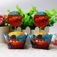 Wholesale Wedding Car Decorations Supplies - Wholesale- Car Paper Cupcake Wrappers Topper Cake Picks Boy Kid Birthday Party Baby Shower Wedding Favor Cake Decoration Supplies 24pcs lot