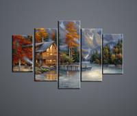 цифровой пейзаж с краской оптовых-5 декоративная живопись Home Decor Home wall art европейский пейзаж живопись цифровая печать оптом и в розницу