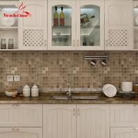 telha de cozinha auto-adesiva papel de parede venda por atacado-Modern Pvc Adesivo de Parede Banheiro À Prova D 'Água Auto Adesivo Papel De Parede Da Cozinha Mosaico Telha Adesivos Para Paredes Decalque Decoração de Casa