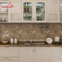 azulejos de mosaico para paredes de baños. al por mayor-Moderno Pvc etiqueta de la pared baño impermeable autoadhesivo papel pintado cocina mosaico azulejos pegatinas para paredes calcomanía decoración del hogar