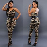 Sexy Club Overalls 2016 Heiße Frauen Camouflage Gedruckt Strap Jumpsuit Overall Sexy Armee Grün Backless Bodycon Overalls S-XL