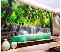Wholesale Wallpaper Roll Black - Wholesale- Customized 3d photo wallpaper 3d wall murals wallpaper jungle river waterfall adornment picture 3d living room wallpaper