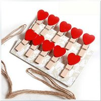 Wholesale Wooden Postcards Wholesale - Mini Heart Love Wooden Clothes Photo Paper Peg Pin Clothespin Craft Postcard Clips Home Wedding Decoration Clip 1 5ld J R
