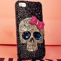Wholesale Cool Iphone 4s Hard Cases - COOL 3D Skull Style Cell Phone Cases Rhinestone diamond Shiny bling Hard PC Cover Case for iphone7 7plus 6 6Splus 5S SE 4S
