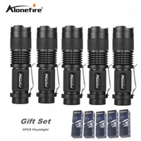 Wholesale portable torch set - AloneFire SK68 5pcs zoom mini flashlight led Bike light Bicycle flash light 7w led torch Zoomable gift set