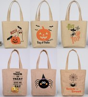 Wholesale Child Treats - Cute Halloween Candy bags Sweets handbag for Children Halloween supplies Linen like Gifts bags Trick or treat Pumpkin Shopping bag