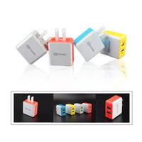 adaptadores de cargador de computadora al por mayor-Top Colorful Square 5V 2.1A Dual USB Cargador de EE. UU. Adaptador de carga para Apple Samsung Cualquier teléfono Tablet PC DHL