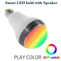 mini e27 levou 5w venda por atacado-Alto-falante sem fio Bluetooth inteligente LED bulbo App controle de cor E27 5W Lâmpada LED Light com Mini Speaker Mais novo tipo