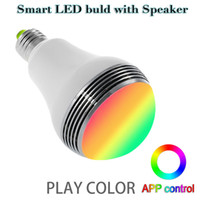 Wholesale Smart Phone Speakers - Bluetooth Wireless Speaker Smart Led Bulb App control color E27 5W Lamp LED Light with Mini Speaker Newest type