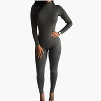Wholesale back zipper turtleneck - Wholesale- 2016 New Women One Piece Jumpsuits Long Sleeve Turtleneck Bodycon Back Zipper Long Pants Sexy Outfits Club Rompers