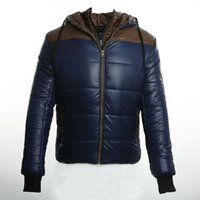 Wholesale Winter Fashion Mens Coat Navy - Wholesale- 2016 new mens down jacket with hood winter down jacket men Keep warm Fake two pieces of clothing fashion winter coat Navy blue