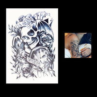 Wholesale Tattoos Arm Time - Wholesale-1 PC Hot Removable Temporary Skull Poker Time Women Fake Health Body Art Tatoo HB049 Waterproof Flower Arm Sleeve Tattoo Sticker
