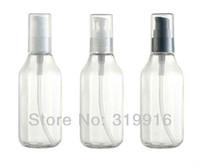 contenedores con forma única al por mayor-Envío gratis forma única 100 ml transparente cuadrado largo pico-botella loción crema bomba botellas envases, 50 pc / lot