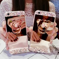 Wholesale Chrome Iphone 5s Cases - 2017 Hot Selling Mirror case Electroplating Chrome Ultrathin Soft TPU Phone Case Cover For iphone 5S 6 7 6S 7Plus Rhinestones Stent
