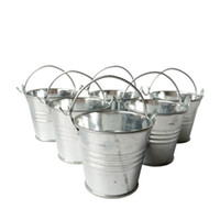 Wholesale Metal Favor Pail Candy - D6*H5CM Cheap Metal mini Pail Tin bucket Rustic Succlents Pots Decorative Galvanized Iron pots Party Favor