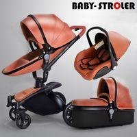 Wholesale Luxury Prams - Luxury PU Leather 3 in 1 Baby Stroller Pram, Pushchair+ Sleeping Basket + Car Seat, 360° Rotation, Suspension, Bidirectional, Baby Trolley