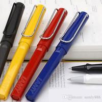Wholesale lamy pen resale online - 1pcs Lamy Roller Ball Pen Safari Colors Option Silver Clip Blue Black Canetas Roller Pen ABS Writing Supplies cm