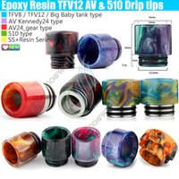 Wholesale Wholesale Dripping Atomizers - Top Epoxy Resin SS Drip tips Wide Bore 510 dripper tip Mouthpiece Smok TFV8 TFV12 Big Baby Tank Kennedy AV24 RBA atomizer ecig Mod RDA DHL