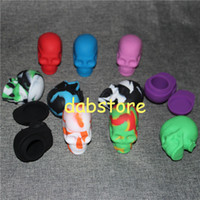 Wholesale Wholesale Large Tub - 5X Large Silicone Jars Dab Wax Container Skull Shape Container Bho Silicon Box Tub Jar Wax New