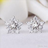 Wholesale Full Earrings - Woman women female models pentagram earrings Christmas snowflake Korean version full of diamond jewelry hypoallergenic ear female Spot