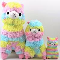 Wholesale soft toys sizes - Cute Rainbow Alpacasso Kawaii Alpaca Llama Arpakasso Soft Plush Toy Doll Gift 3 Sizes 10 P