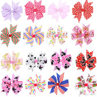 Wholesale Cartoon Ribbon Hair Clips - Kids Cartoon Bow Clips Baby Striped Print Hairpins Infants Plaid Bows Barrettes Boutique Ribbon Bows with Clip Children Hair Accessories