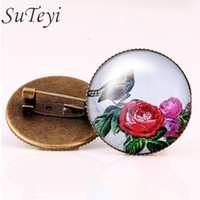 Wholesale Elegant Flower Brooch Pin - Elegant charming Bird art picture brooch pins beautiful flowers charm brooches trendy silver plated mothers day gifts
