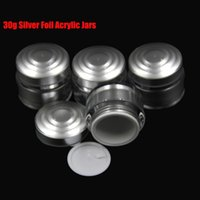 Wholesale Acrylic Powder Containers - 10pcs lot Upscale 30g Silver Foil Acrylic Plastic Empty Loose Powder Cream Luxury Jars New Cosmetic Packaging Containers PJ6