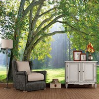 Wholesale 3d Scenery Photo - Wholesale-Custom 3D Photo Wallpaper 3D Stereoscopic Green Trees Forest Scenery Living Room Sofa TV Background 3D Wall Mural Wallpaper