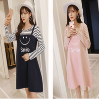Wholesale Winter Dresses For Pregnancy Women - 2017 Winter Autumn Stripes Nursing Dress Smiling face pattern Print Maternity Clothes for Pregnant Women Breastfeeding Pregnancy Clothing
