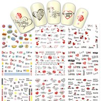 Wholesale Love Design Beauty - Wholesale- 1 Sheets Nail Art Sticker NEW Letter Love Kiss Bride Lady Beauty Nails Tips Designs of Water Transfer Decals DIY BLE2524-2534