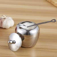 Wholesale Stainless Steel Sugar Bowls - Apple-shape Sugar Bowl Stainless Steel Kitchen Condiments Container 8.5cm * 10cm
