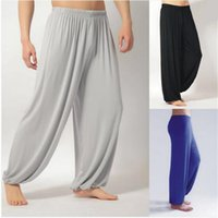 Wholesale Men Tai Chi Pants - Wholesale-Plus Size XXXL Pants Men Modal Arts Pant Dancing Jogger Mens Summer Nepal Bloomers Tai Chi Black Grey Loose Oversized Trousers