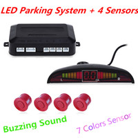 Wholesale Sensors System 12v Led Display - Car LED Parking Sensor Kit Display 4 Sensors Parking Assistance Buzzing Sound 22mm 12V for All Cars Reverse Backup Radar System